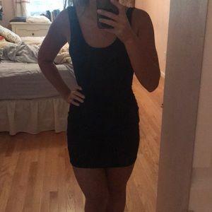 boohoo backless navy dress